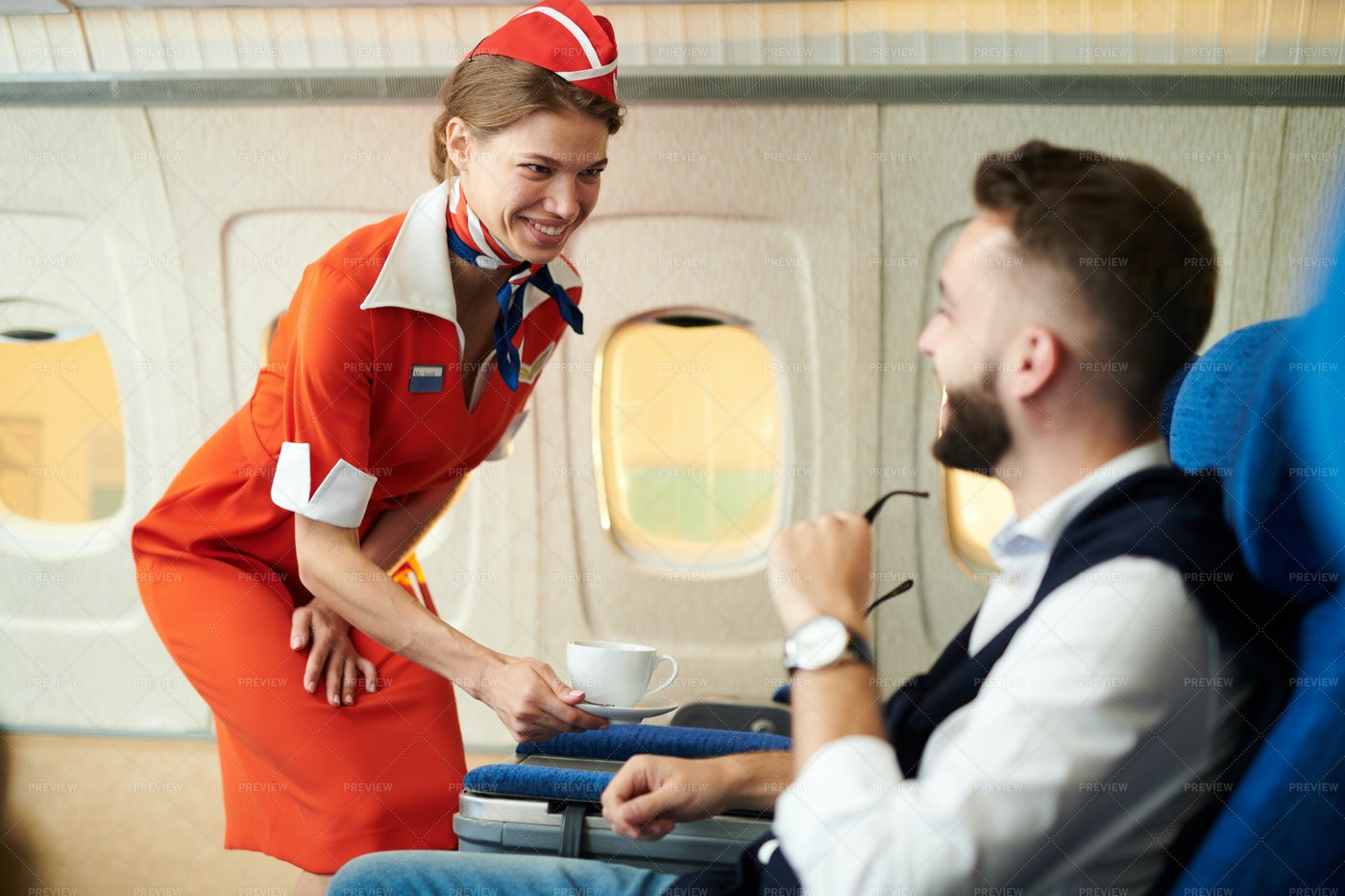 Flight Attendant At Work: Stock Photos