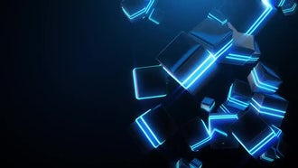 Abstract Blue Neon Cubes: Motion Graphics