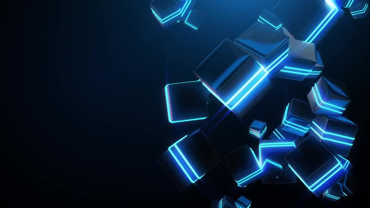 Abstract Blue Neon Cubes: Stock Motion Graphics
