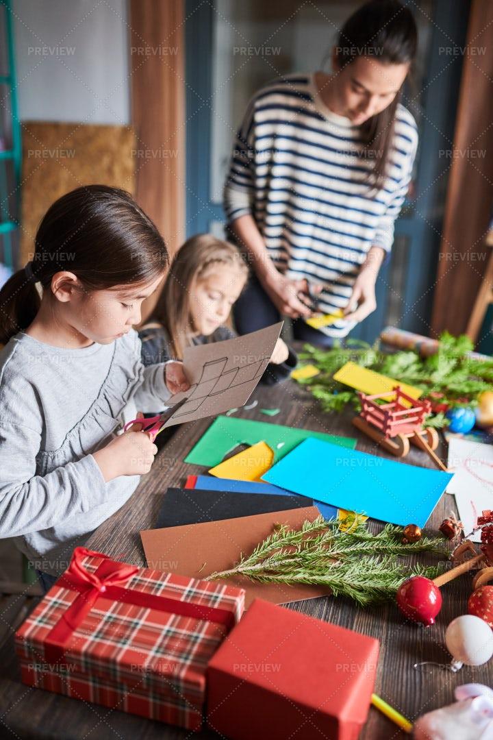 Kids Making Handmade Presents: Stock Photos