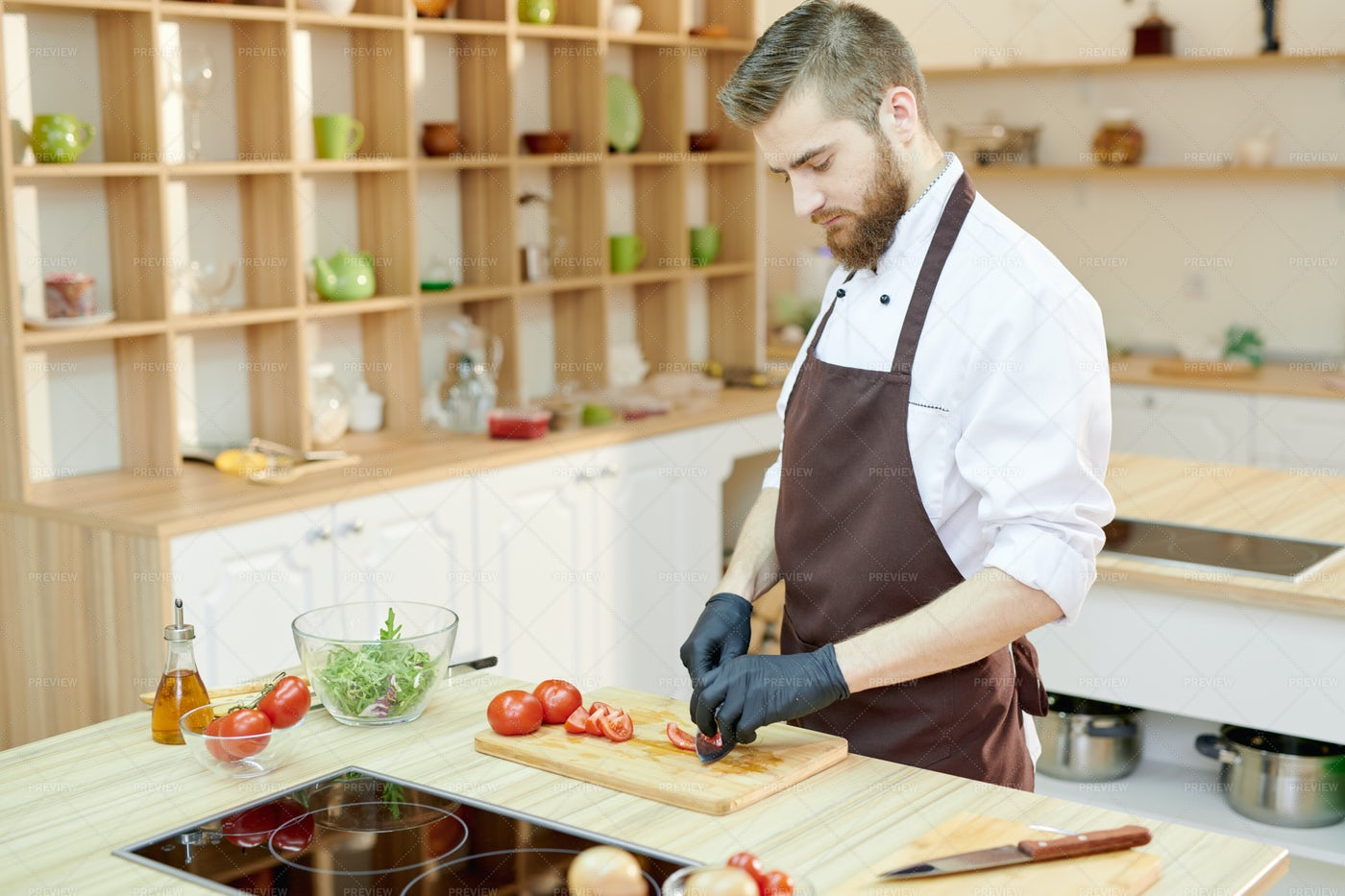 Professional Chef Cooking Salad  In...: Stock Photos