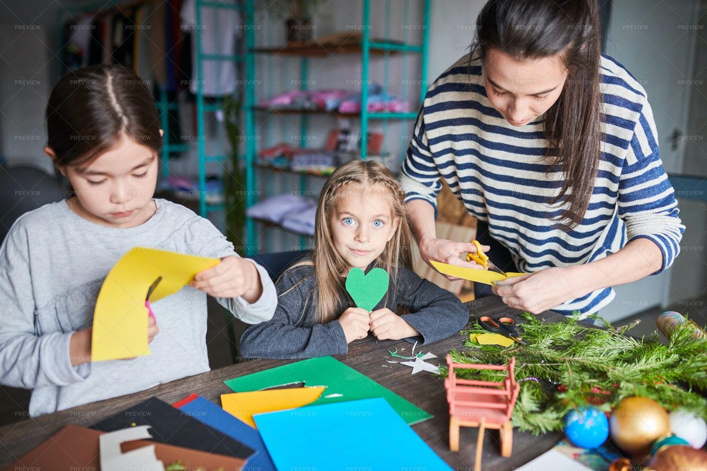 Children Making Handmade Presents: Stock Photos