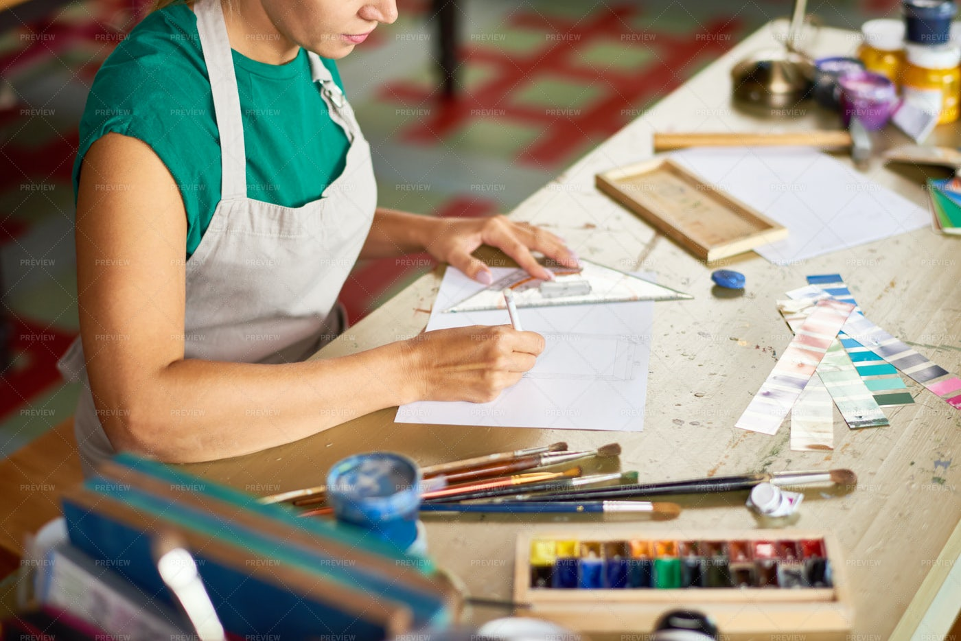Young Woman Drawing Project Plan In...: Stock Photos
