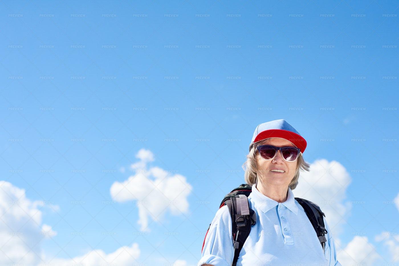 Active Senior Woman Enjoying Hiking: Stock Photos