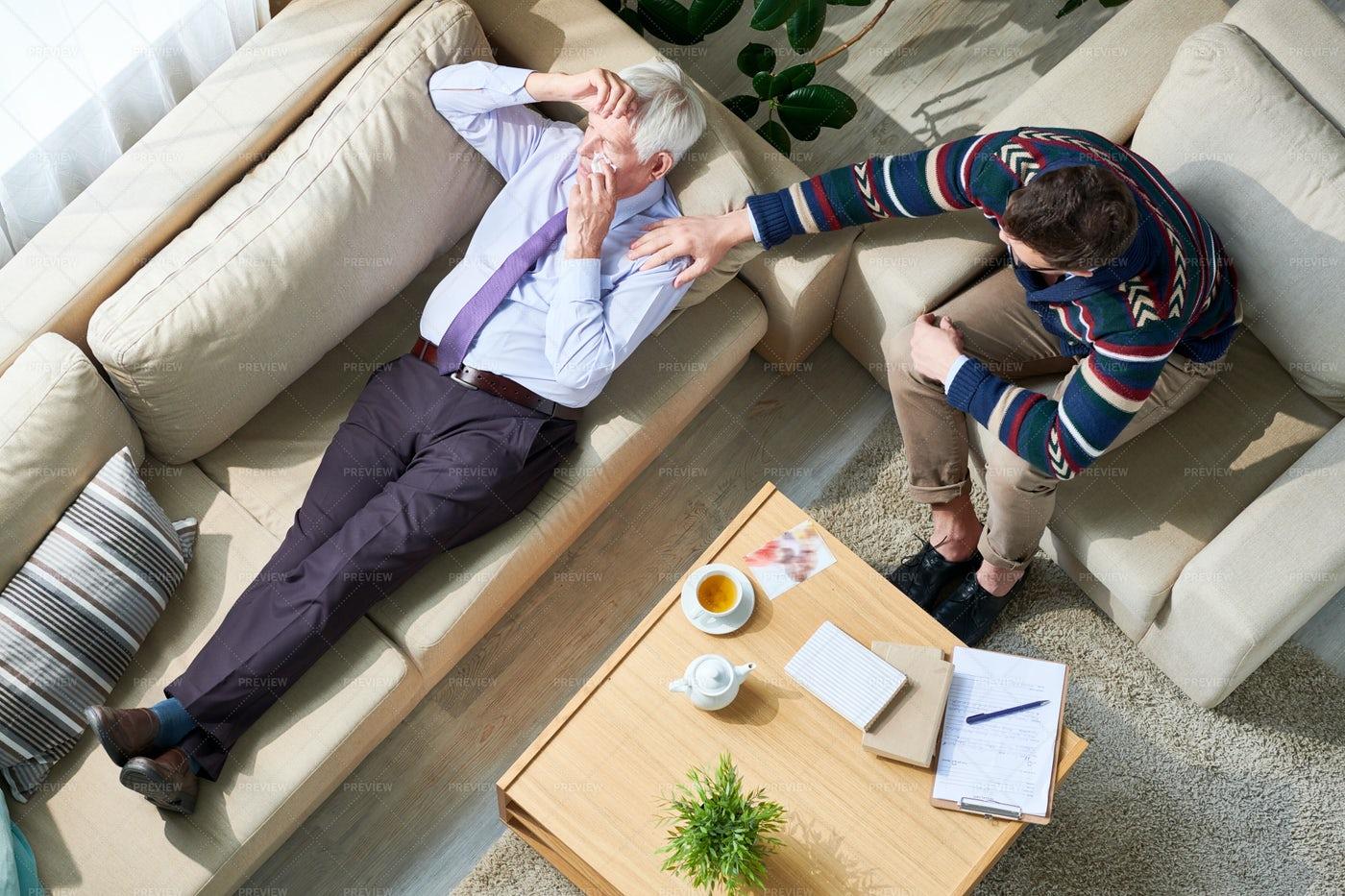 Elderly Businessman Crying At...: Stock Photos