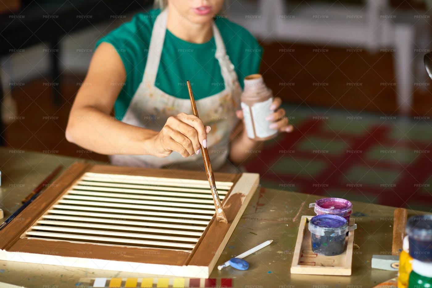 Young Woman Making DIY Interior...: Stock Photos