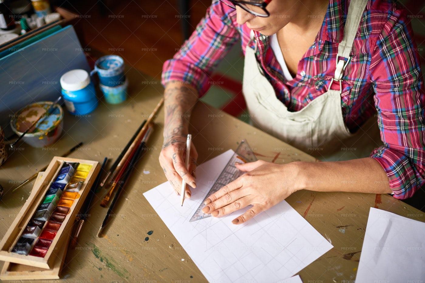 Modern Designer Working At Wooden...: Stock Photos