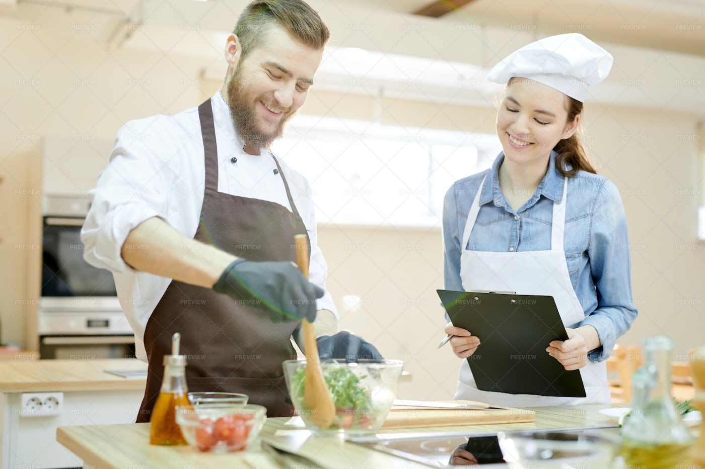 Smiling Chef Working In Restaurant: Stock Photos