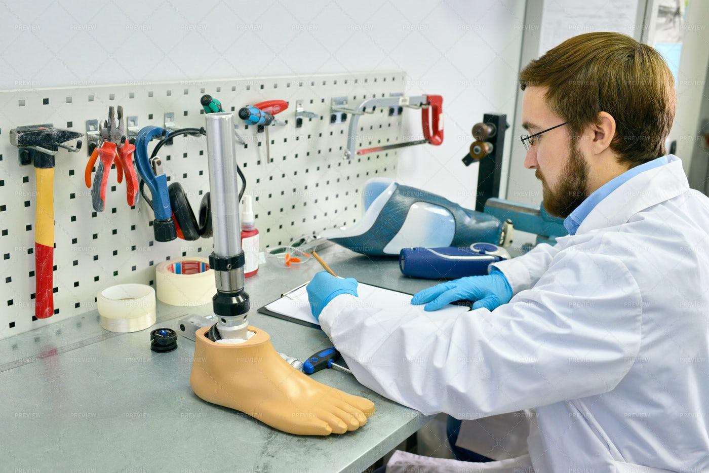 Prosthetist Working In Laboratory: Stock Photos