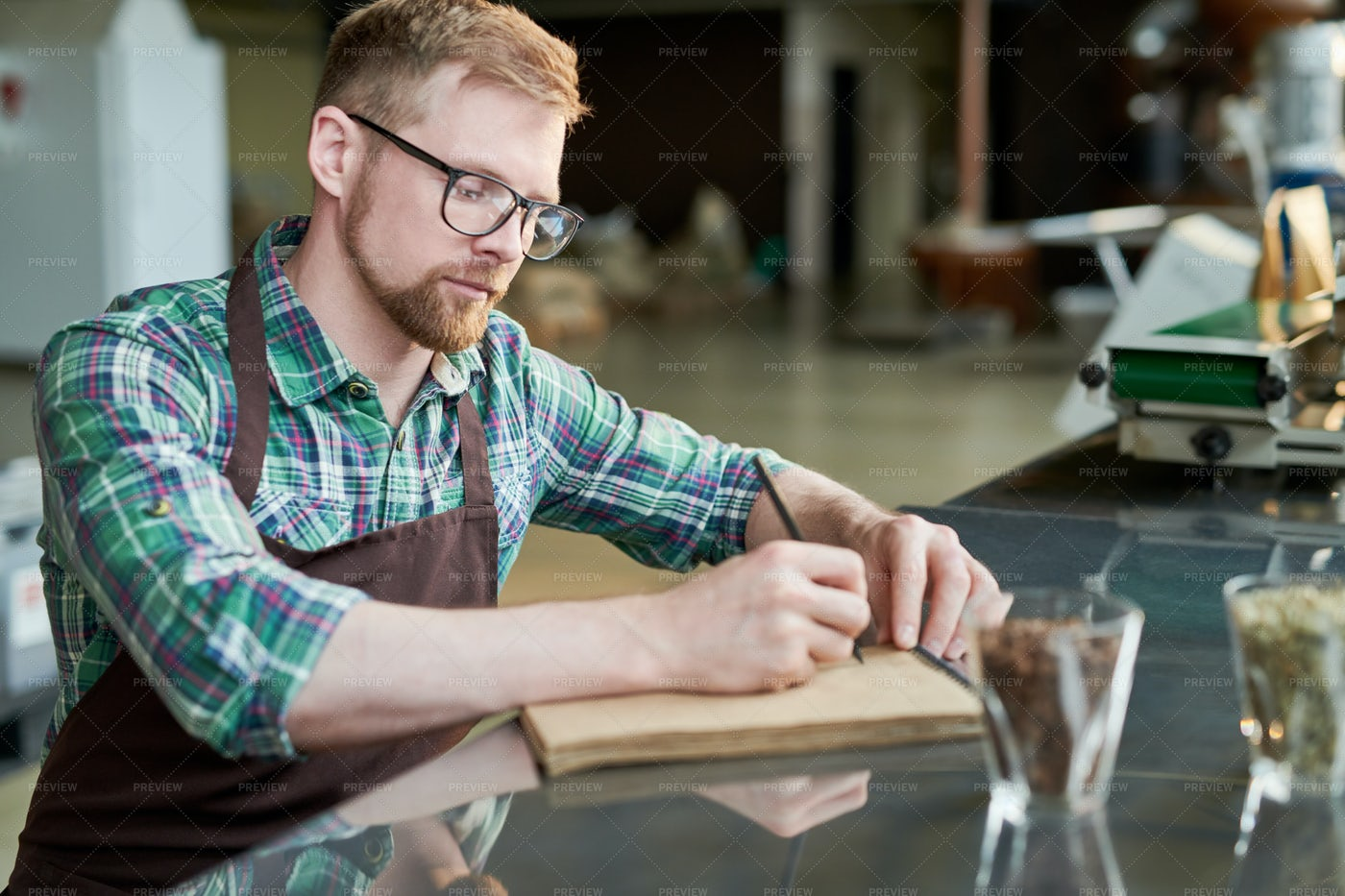 Barista Writing Blends Of Coffee: Stock Photos