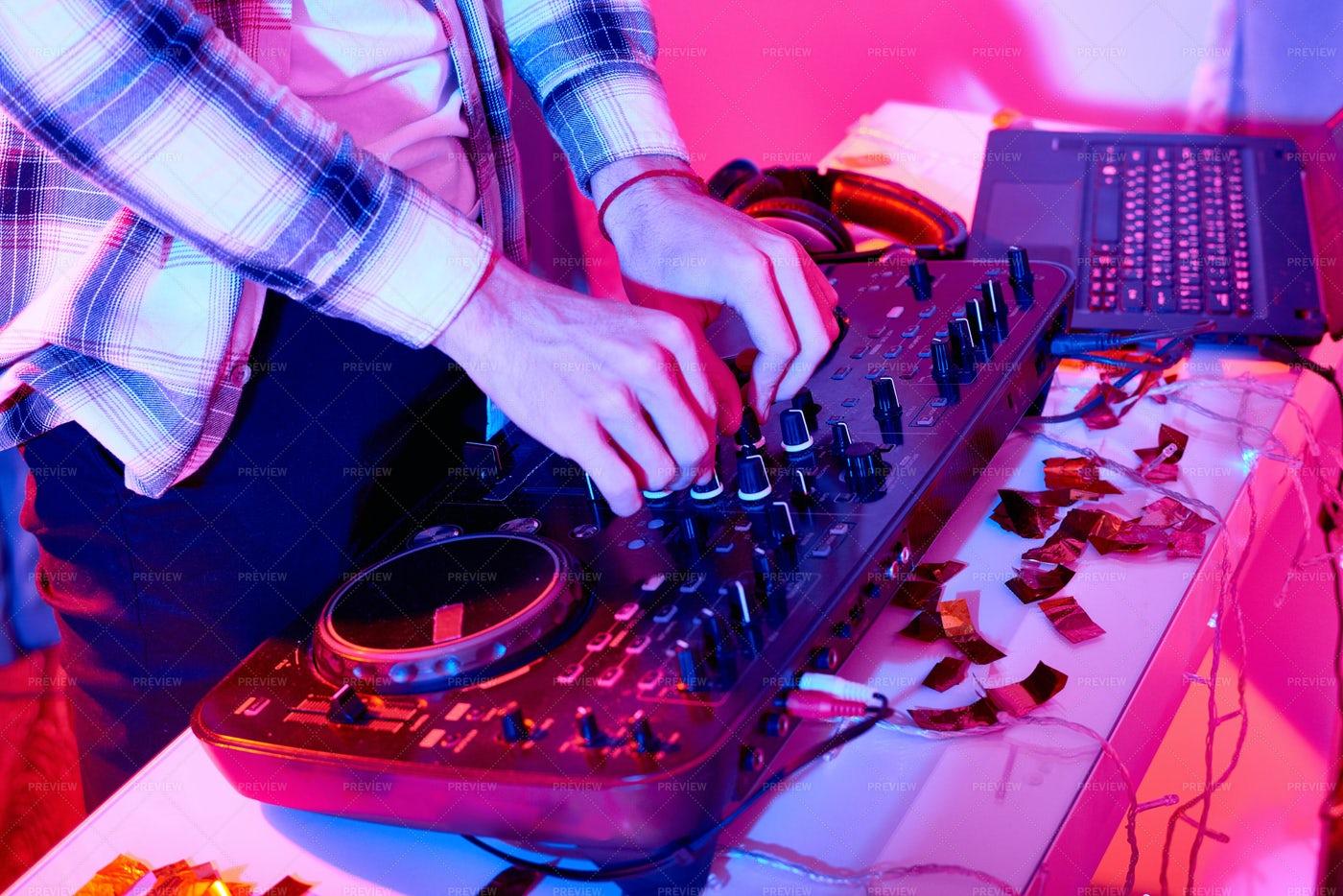 Crop DJ Mixing On Console: Stock Photos