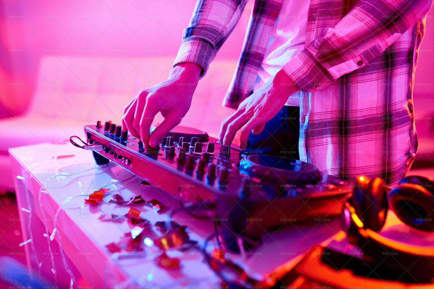 Crop DJ Playing Music On Mixer: Stock Photos