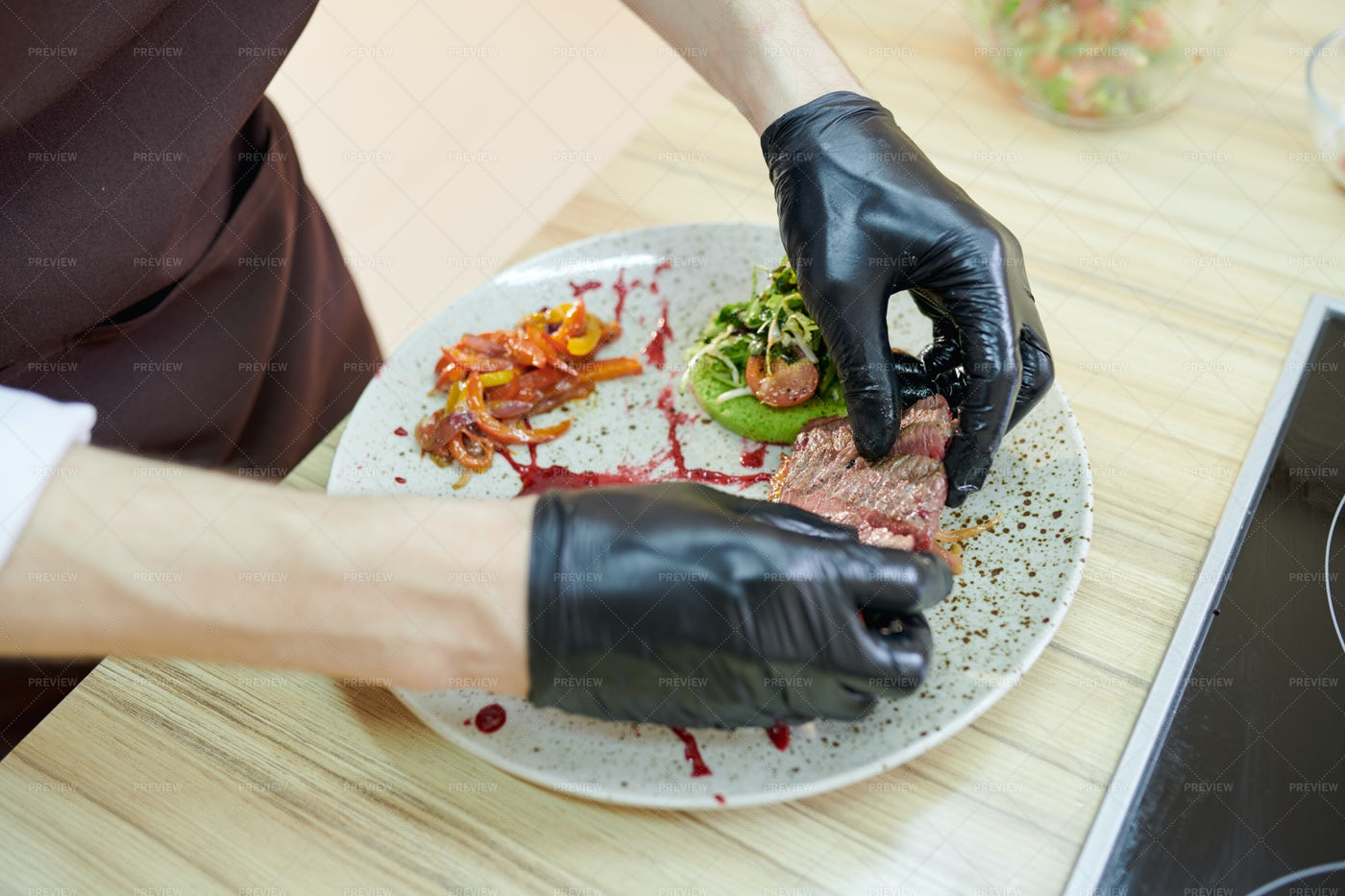 Chef Plating Meat: Stock Photos