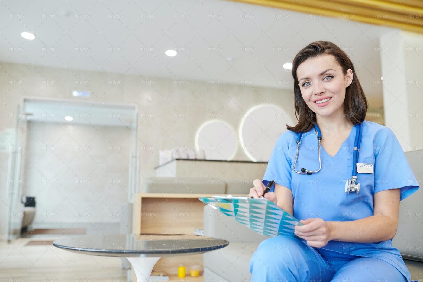 Nurse Posing In Clinic: Stock Photos