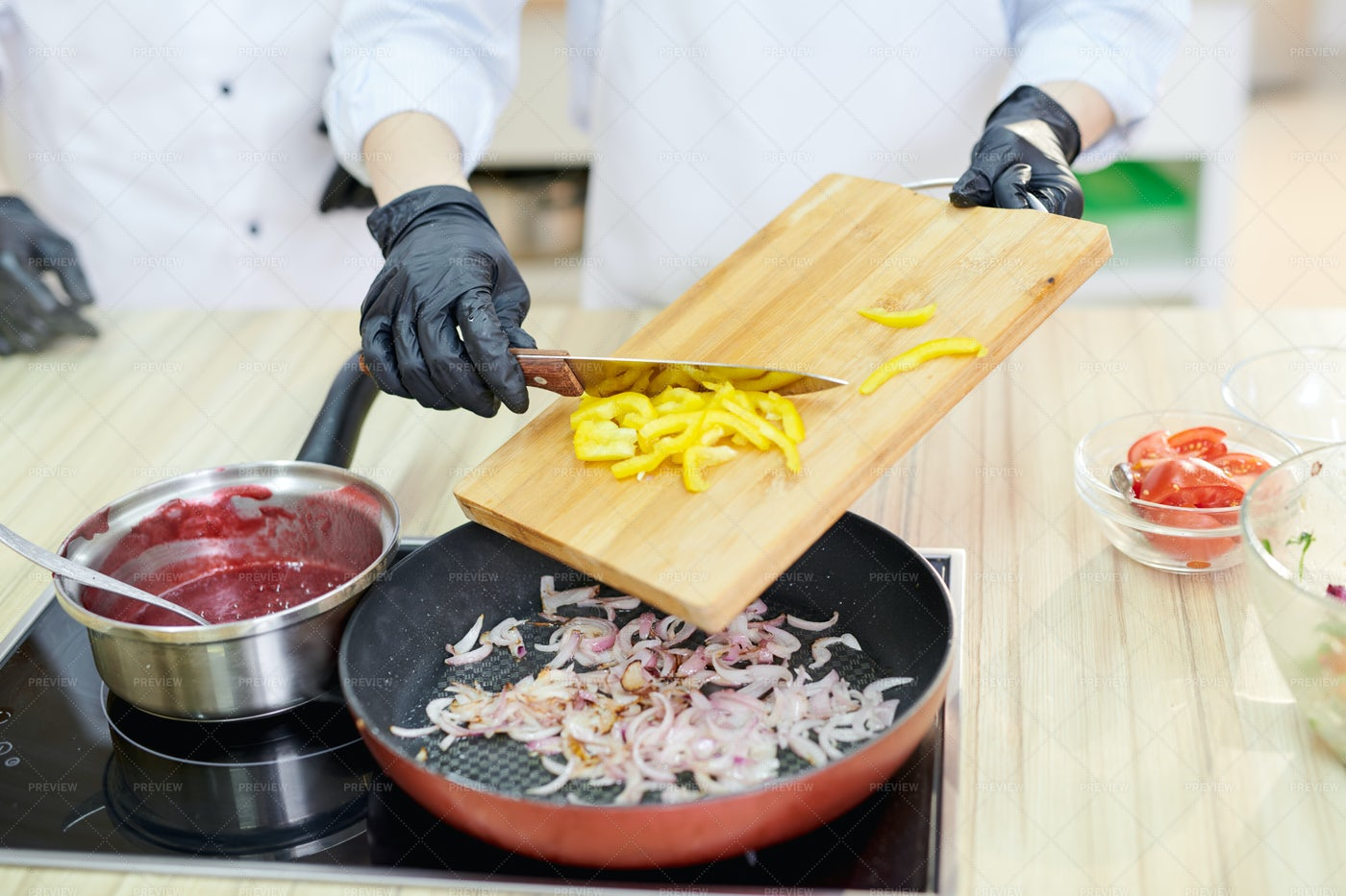 Chef Cooking Vegetables: Stock Photos