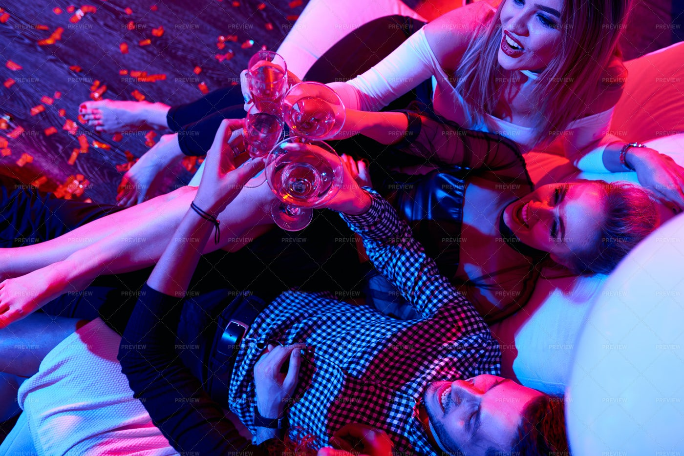 Celebrating Friends Drinking...: Stock Photos