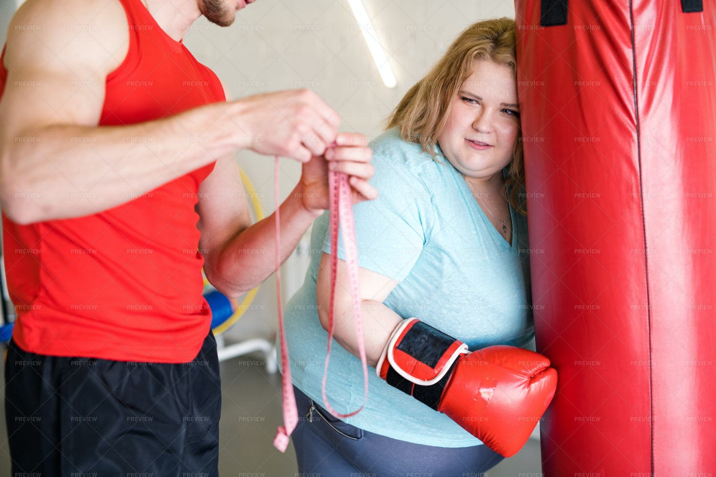 Obese Woman Dreading After Training...: Stock Photos