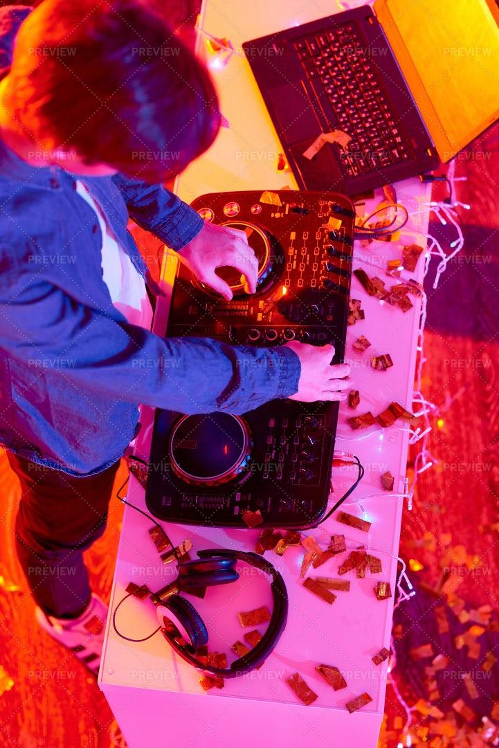 Young DJ Playing Music On Modern...: Stock Photos