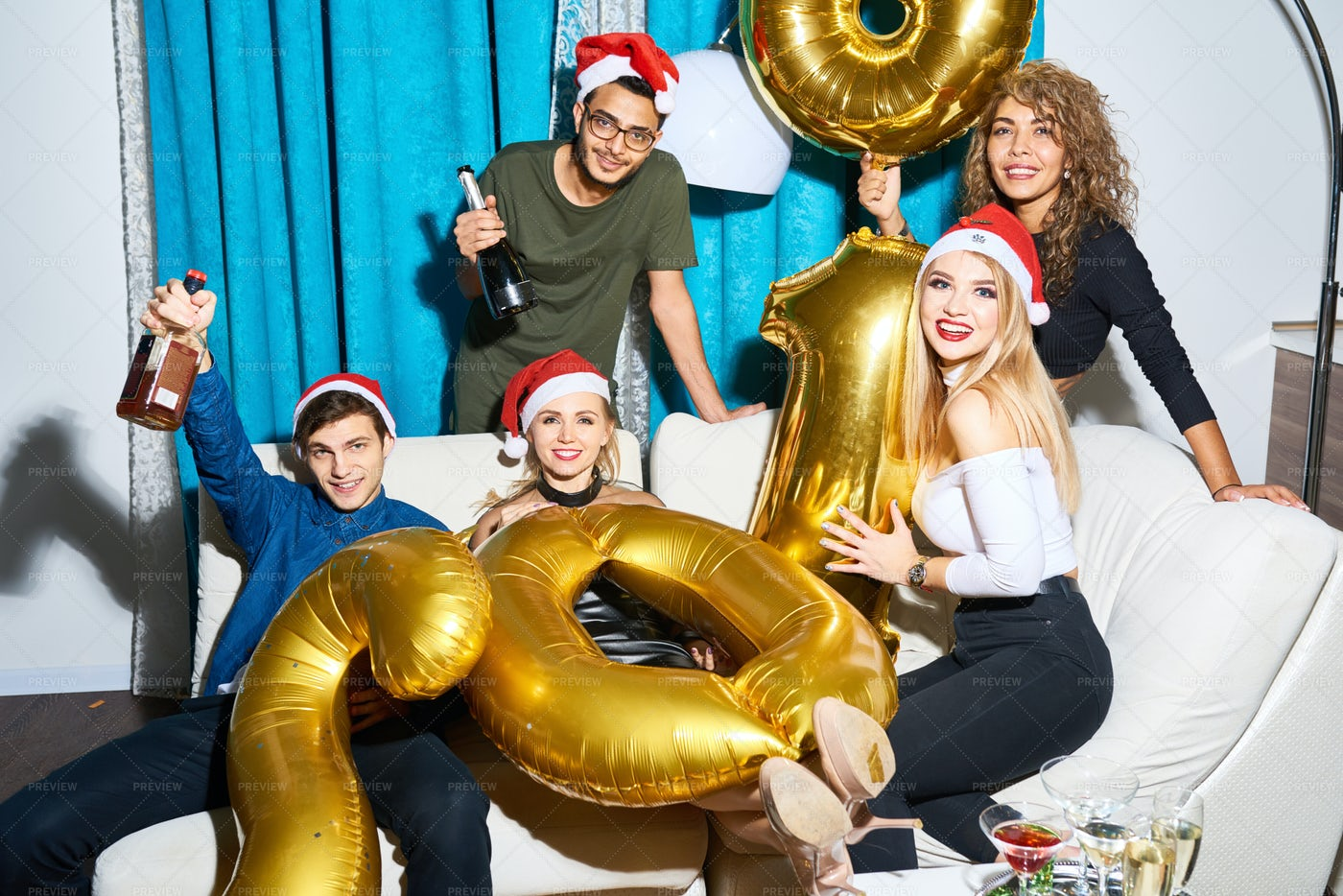 Happy Friends With Golden Balloons...: Stock Photos