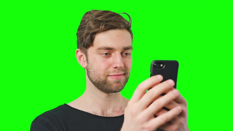 Man Reads Messages On Phone: Stock Video