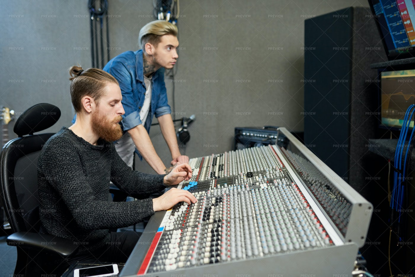Sound Producers In Studio: Stock Photos