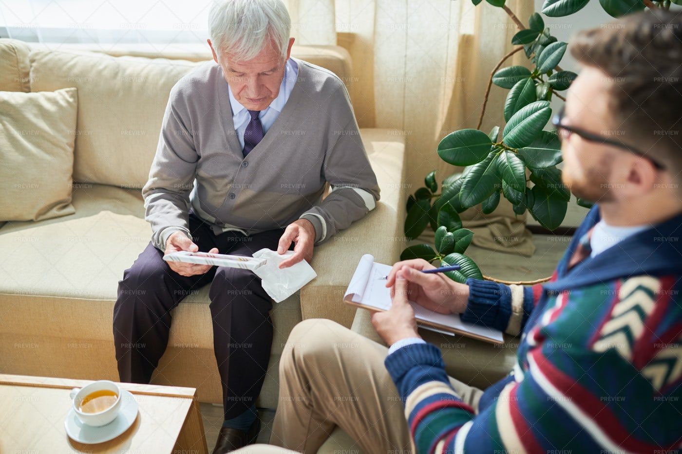 Senior Man In Psychological Therapy: Stock Photos