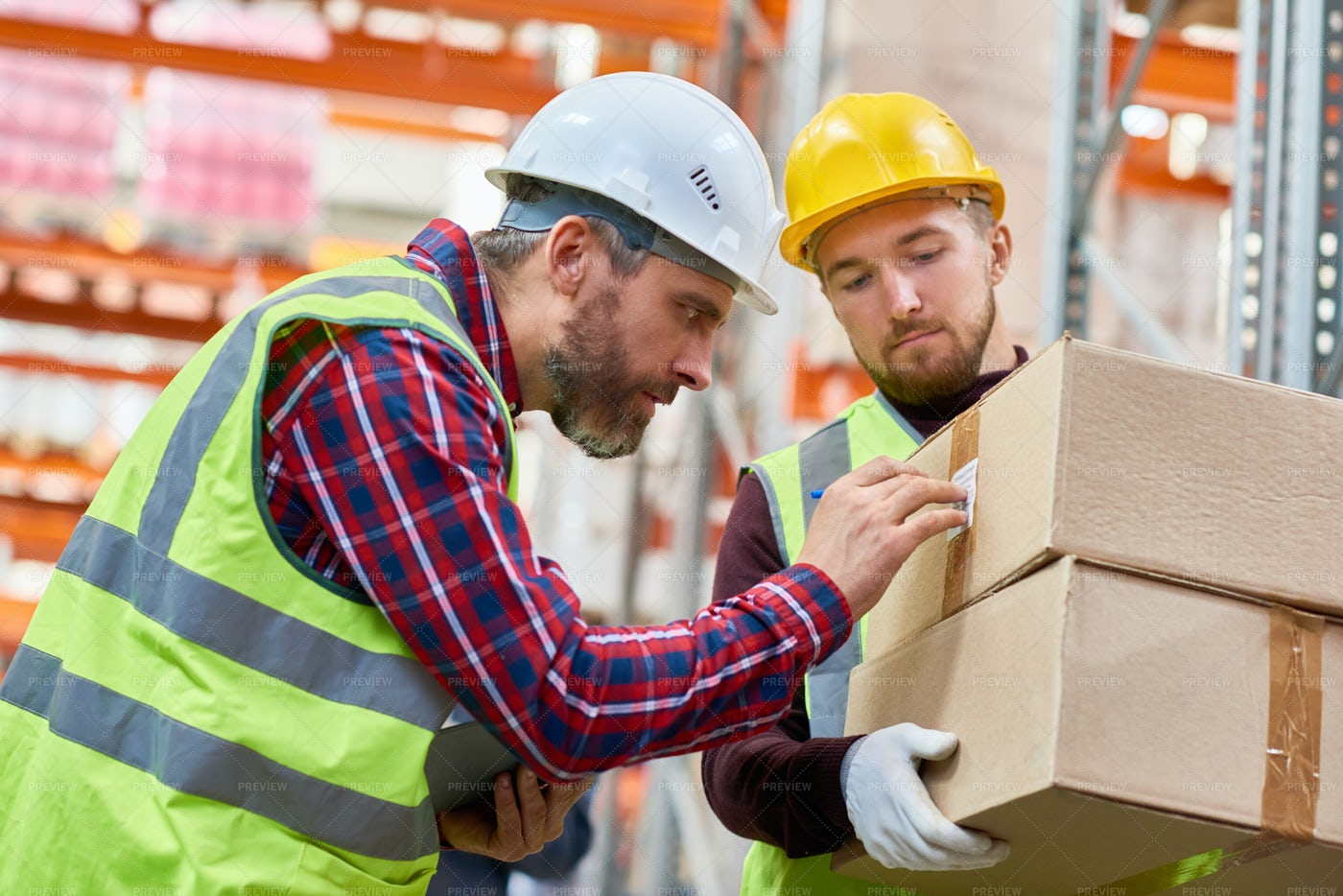 Shipping Workers In Warehouse: Stock Photos