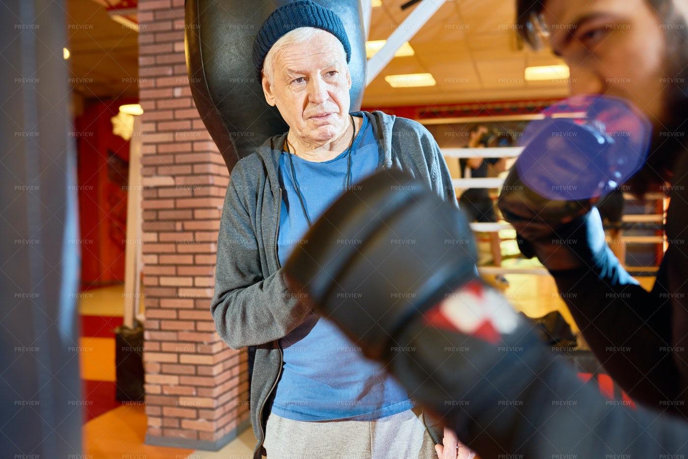 Senior Boxing Coach: Stock Photos