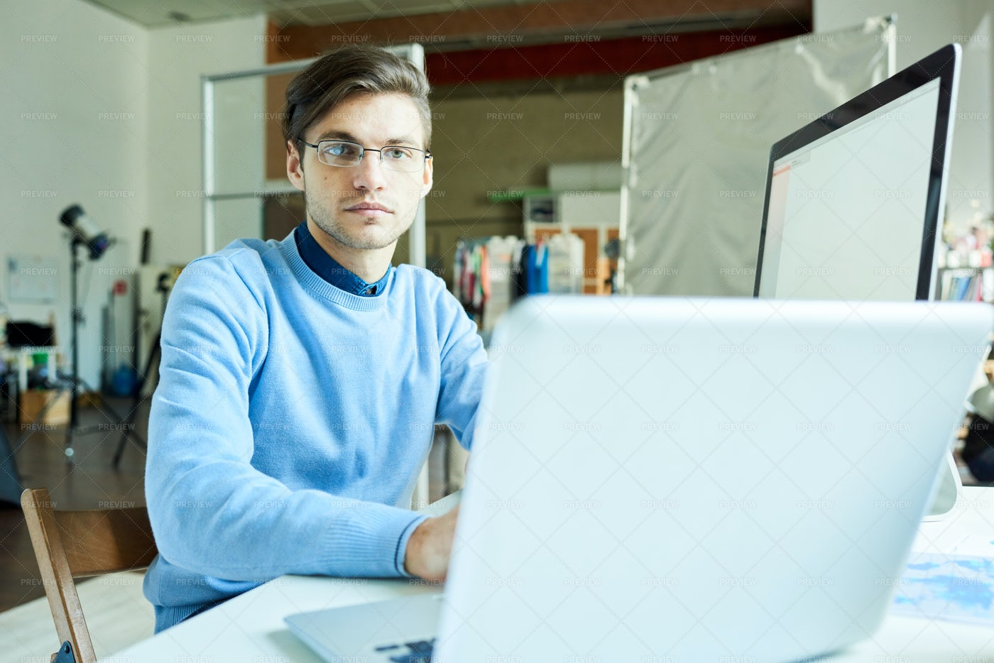 IT Professional Coding At Workplace: Stock Photos