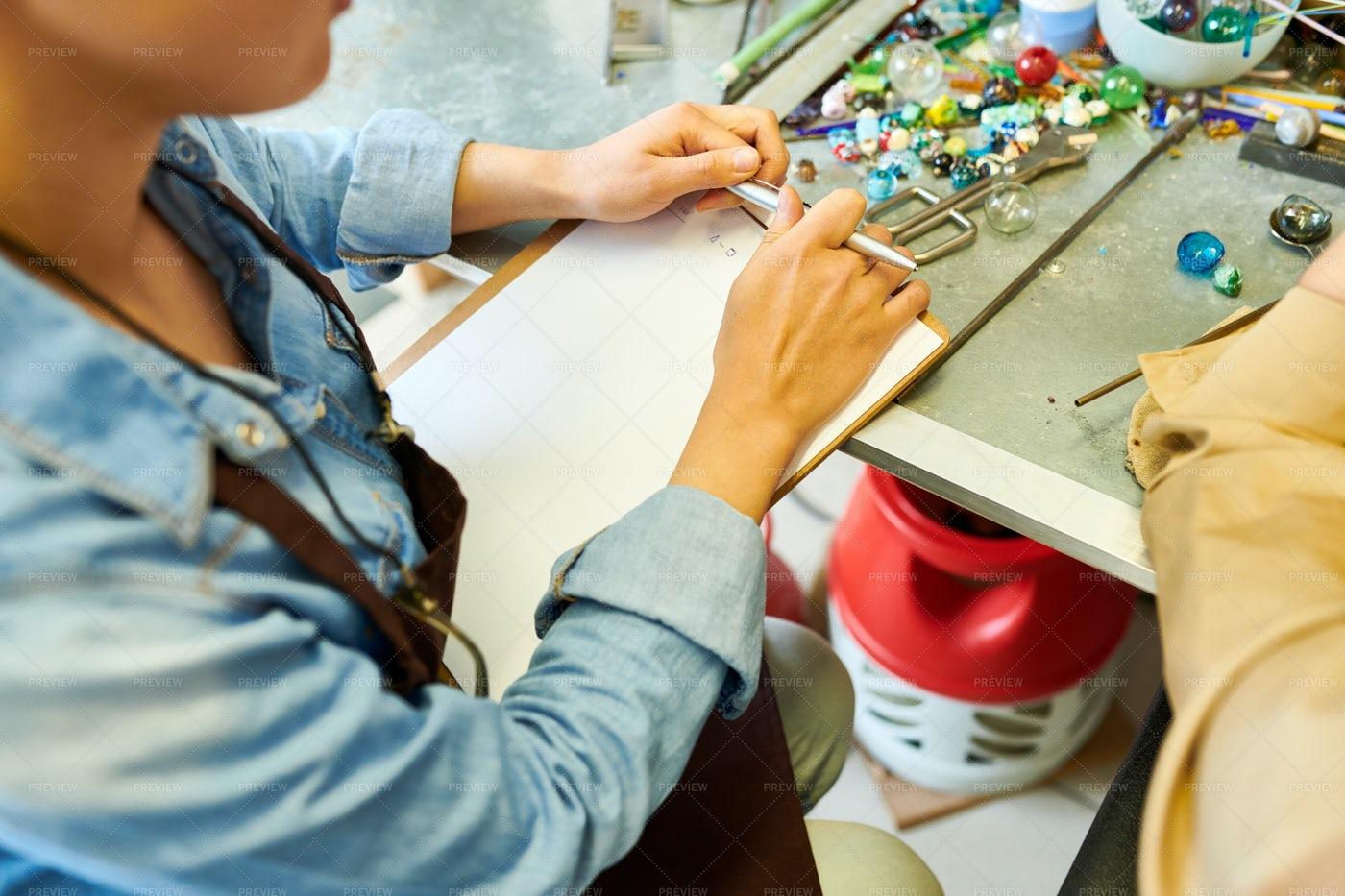 Female Artist Making Notes: Stock Photos