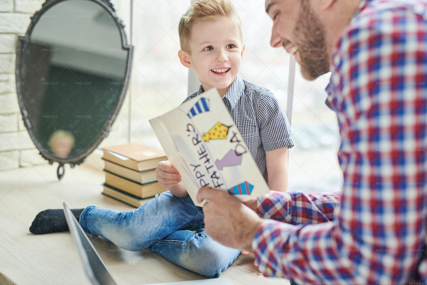 Receiving Gifts For Fathers Day: Stock Photos