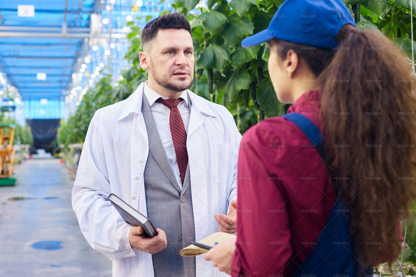 Handsome Scientist Talking To...: Stock Photos