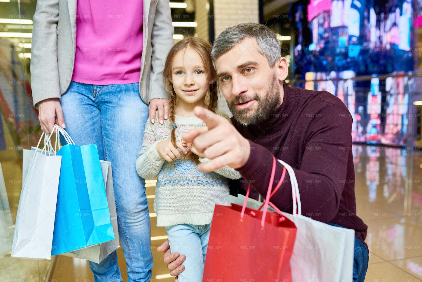 Little Girl Shopping With Dad: Stock Photos