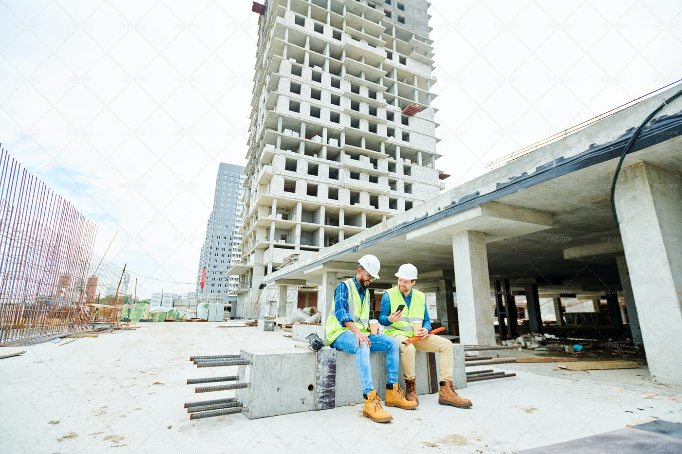 Engineers Discussing Construction...: Stock Photos