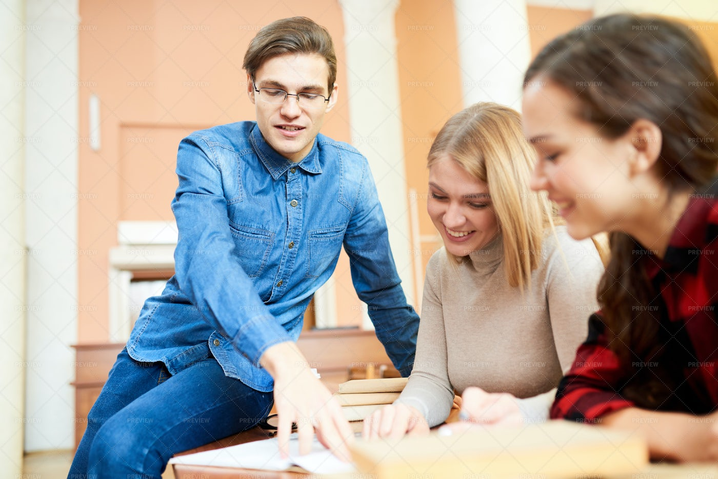 Ecstatic Students Discussing...: Stock Photos