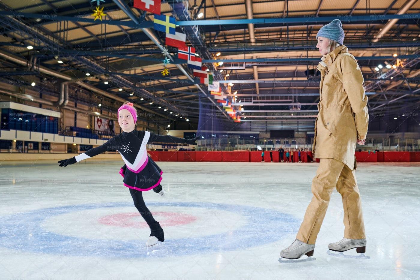 Girl Ice-Skating In Training: Stock Photos