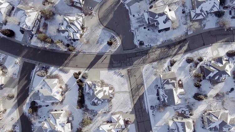 Snowy Neighborhood Aerial : Stock Video