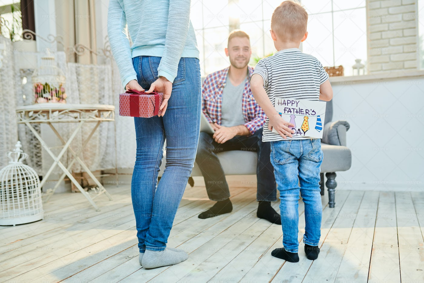 Young Family Celebrating Fathers...: Stock Photos