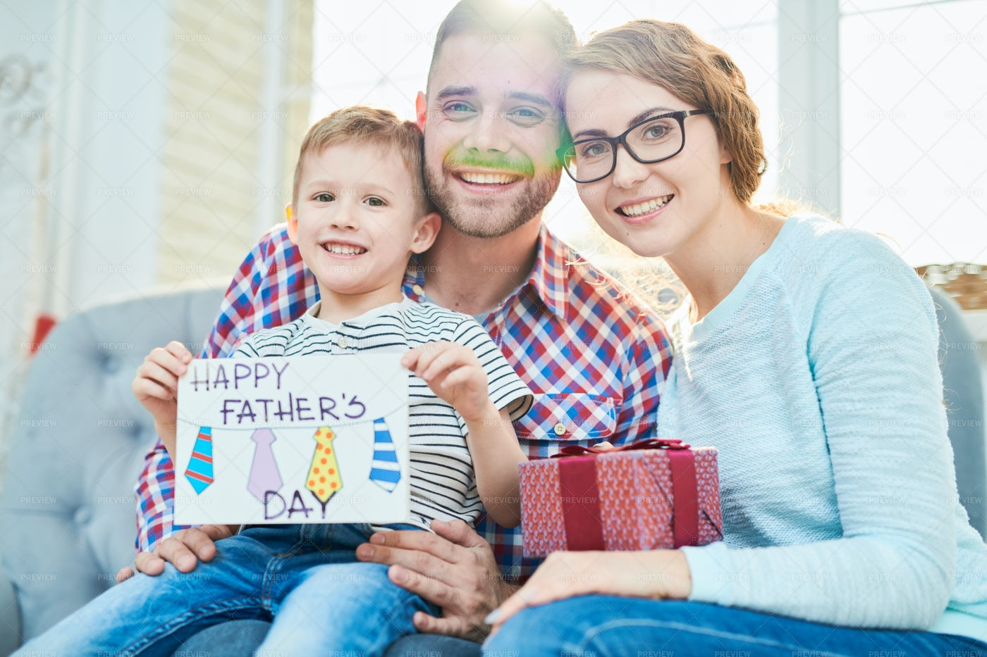 Family Portrait On Fathers Day Eve: Stock Photos