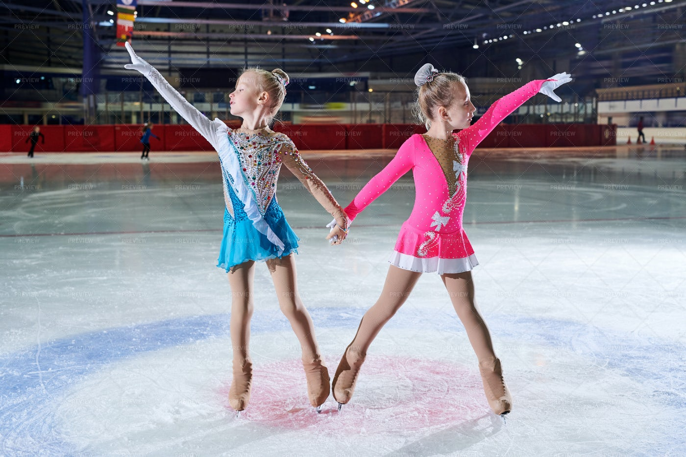 Two Talented Little Figure-Skaters: Stock Photos