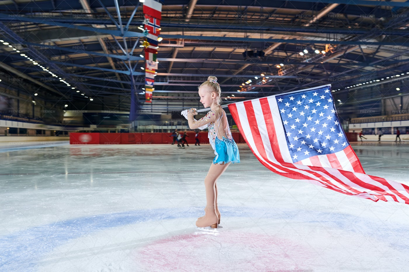 Girl Figure-Skating Carrying...: Stock Photos