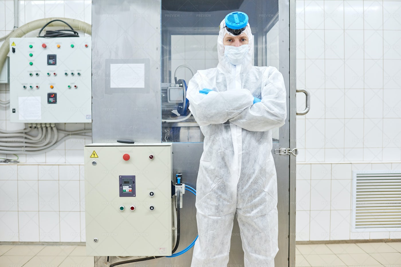 Confident Factory Worker Standing...: Stock Photos
