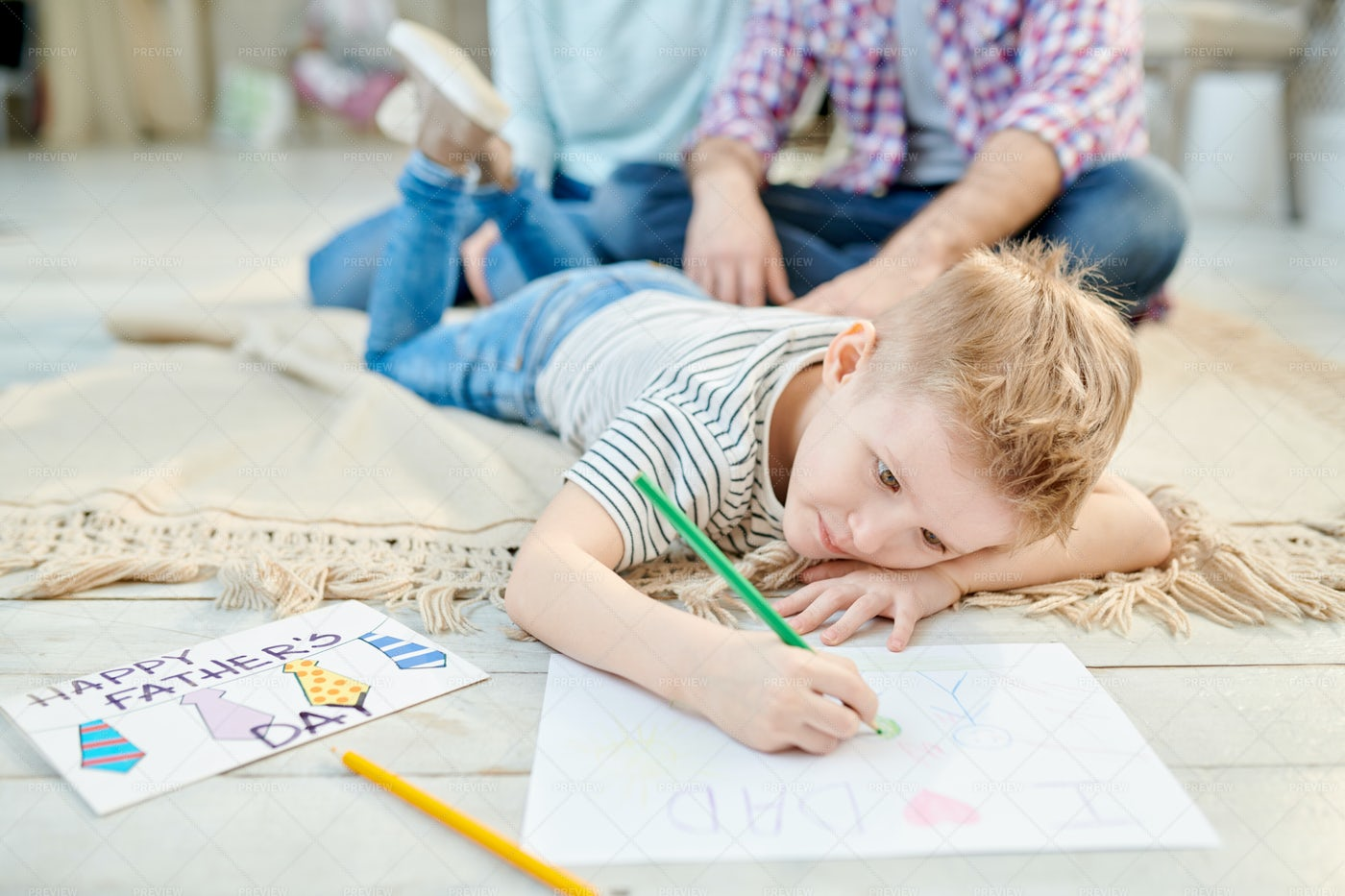 Little Boy Drawing Picture  For...: Stock Photos