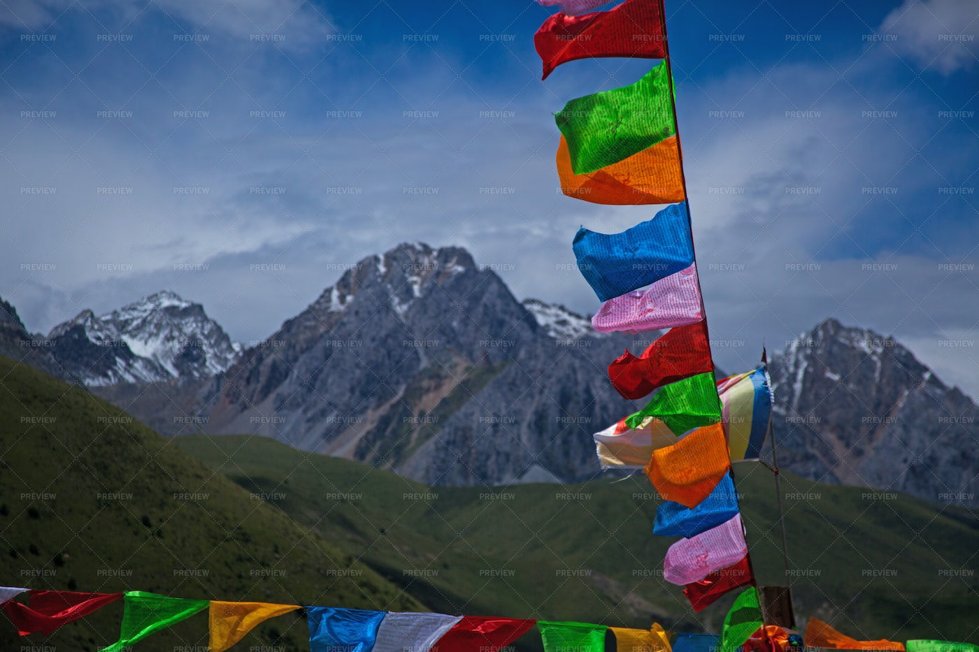 Prayer Flags In The Mountains: Stock Photos