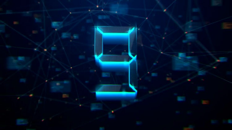 3D High Tech Plexus Countdown: Stock Motion Graphics