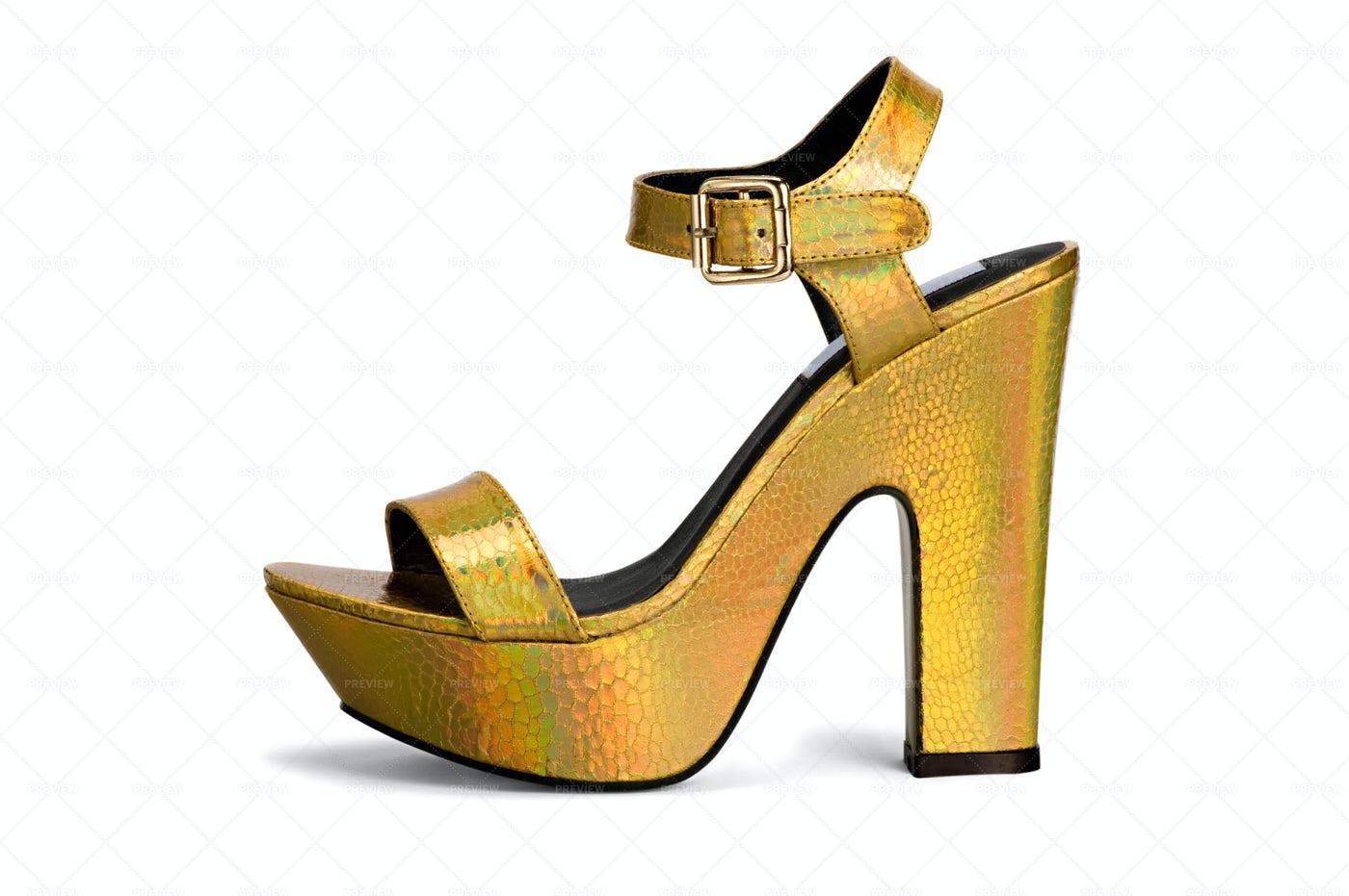 Elegant Metallic Gold High Heel Sandal: Stock Photos