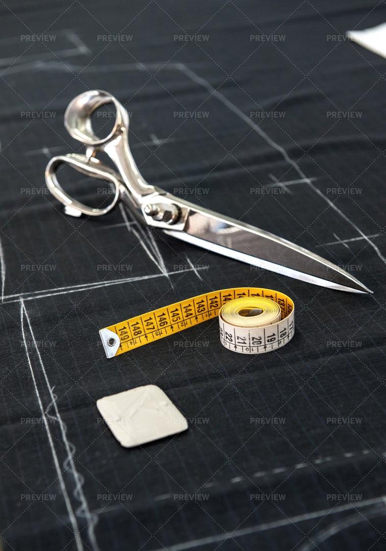 Scissors And Measuring Tape: Stock Photos