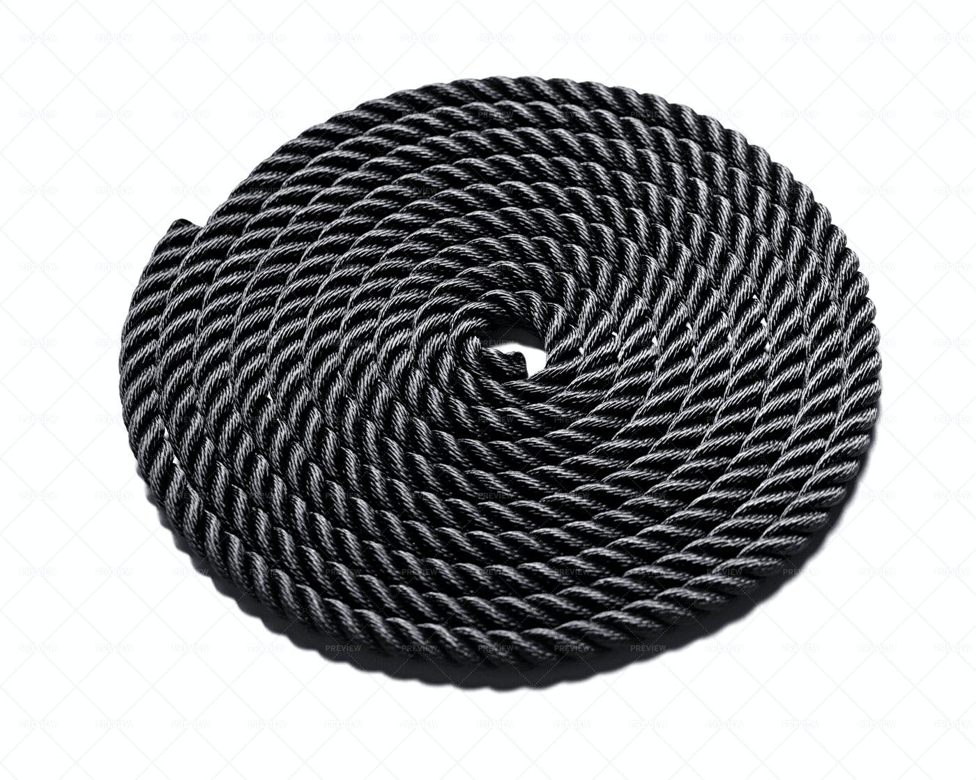 Coiled Black Rope: Stock Photos