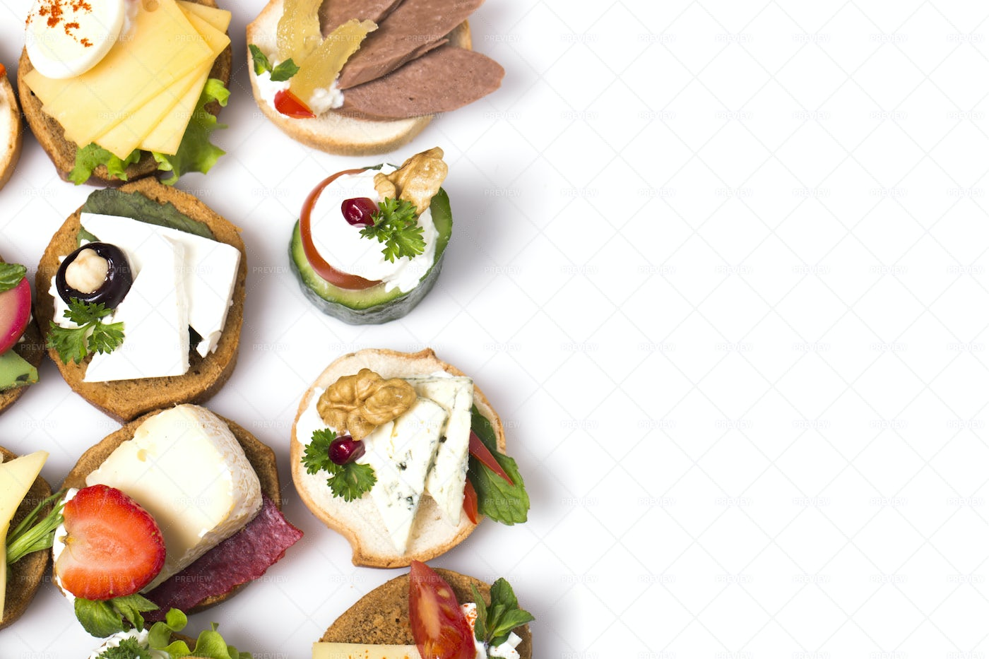 Canapes With Various Fillings: Stock Photos