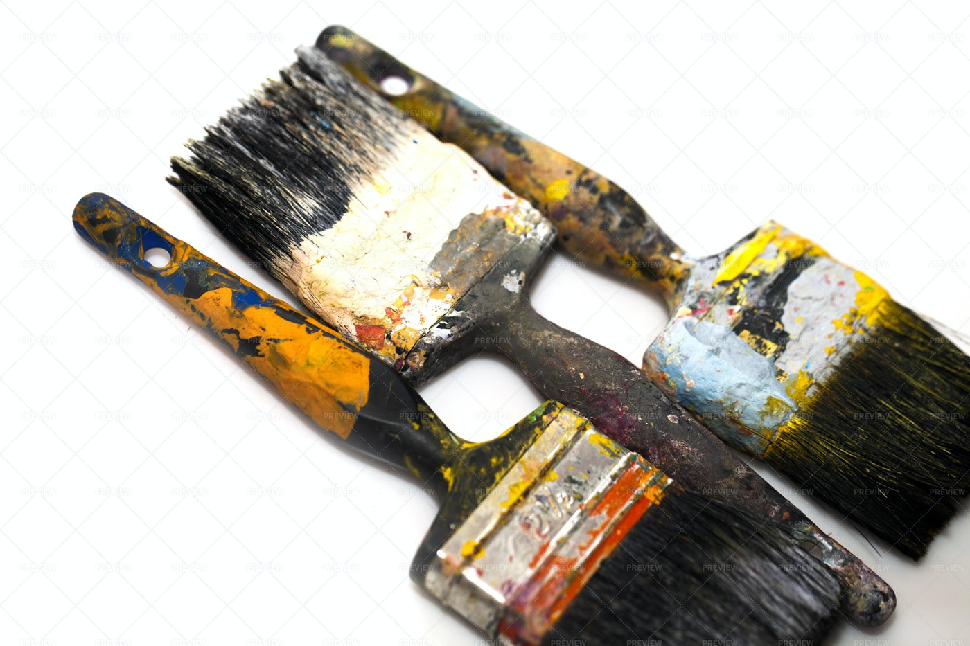 Brushes Stained With Paint: Stock Photos